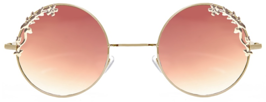 0e6dc52ef4c71e lunettes de soleil rondes doré a verres marron degradé à detail fleuris doré,  claire s