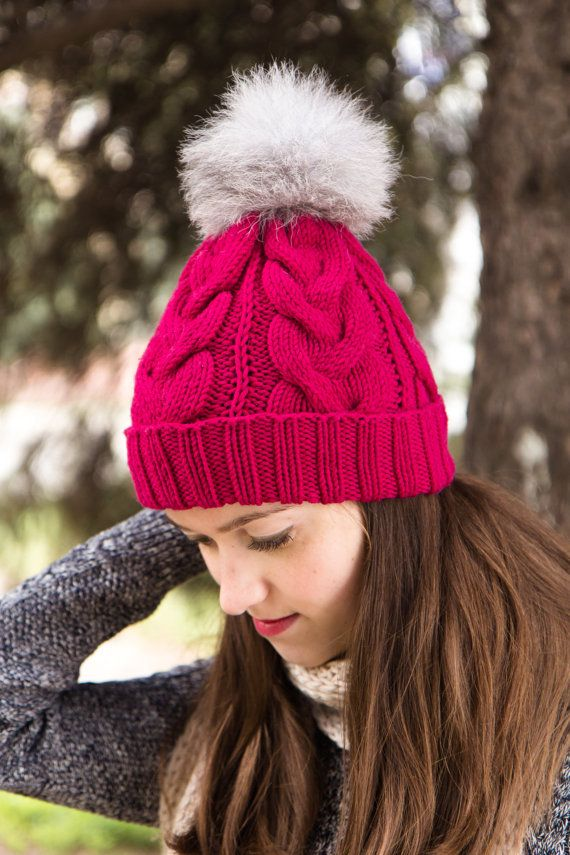 Fur Pom Pom Hat - Merino Wool Hat - Hot Pink Pompom Hat - Knitted ...