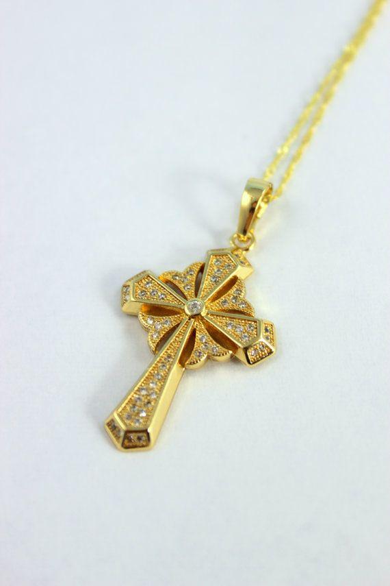 Gold Cross Pendant Necklace Women Girls Crystal Cross ...