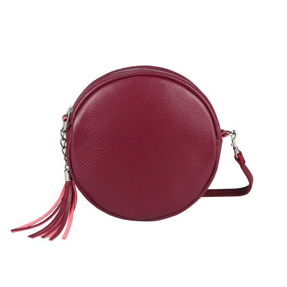 OBC Made in Italy Damen ECHT Leder Tasche Crossbody Runde Schultertasche City Bag Crossover Umhängetasche Clutch Ledertasche Damentasche Minibag Bordo – Neues bei Italyshop24.com