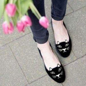 Black Velvet Kitty Flats Charlotte Olympia rTvRPsD