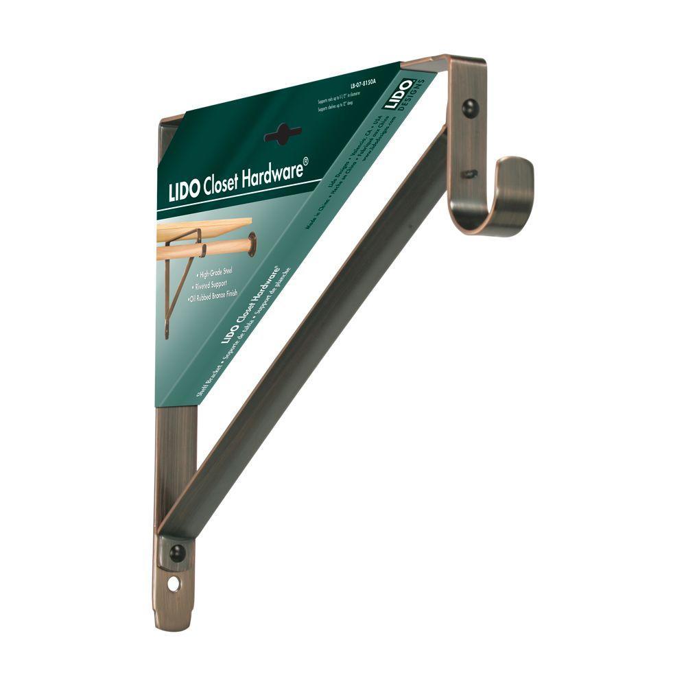 Lido Designs 12 In X 11 In Copper Oil Rubbed Bronze Heavy Duty Rod And Shelf Bracket Lb 07 8150a The Home Depot Shelf Brackets Oil Rubbed Bronze Steel Shelf Brackets