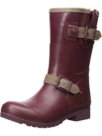 Sperry Top-Sider Women's Walker Fog Rain Boot, Maroon/Khaki, 8 M