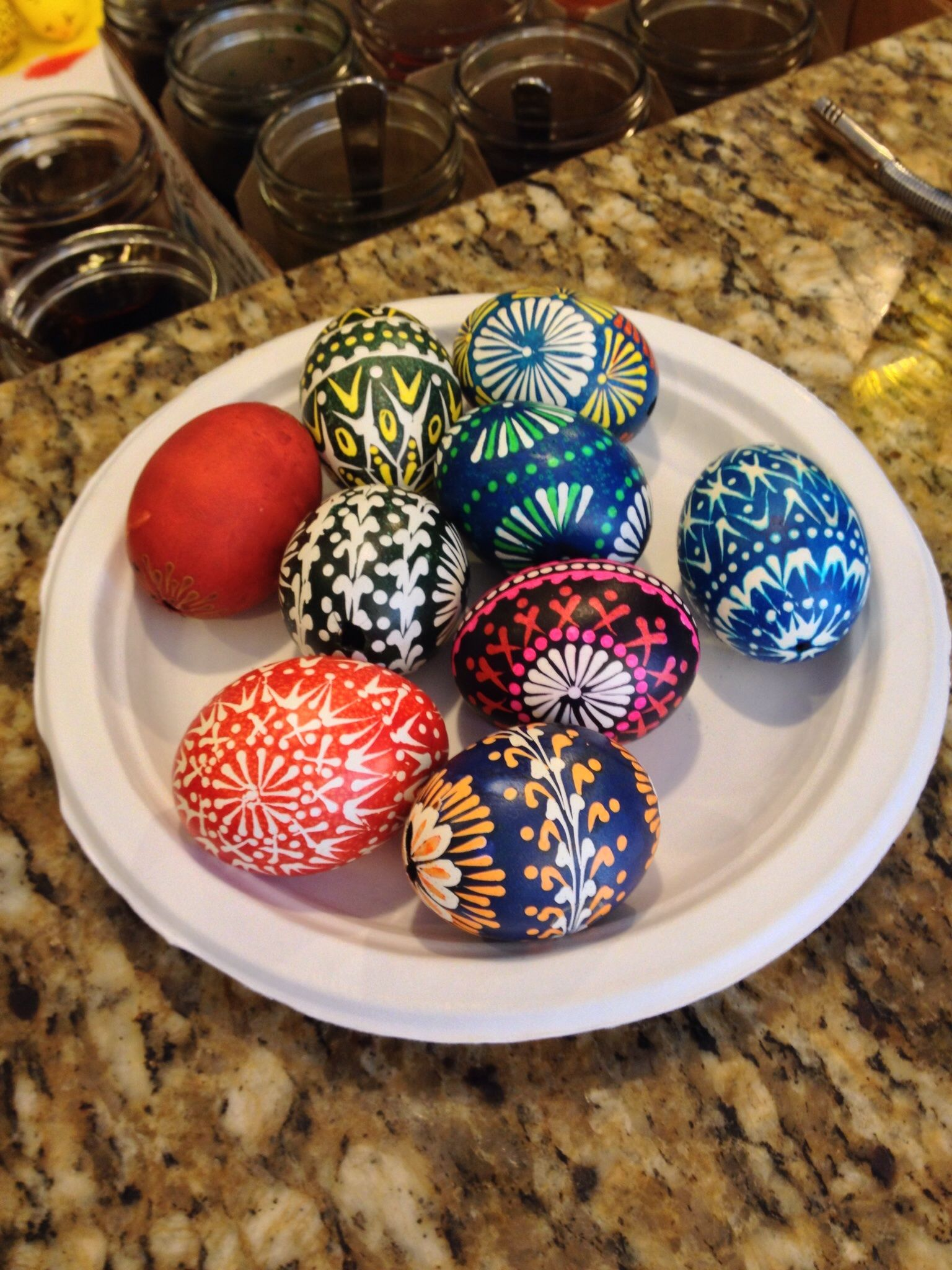 My polish mother-in-law taught me how to make Easter eggs! Such a fun craft!