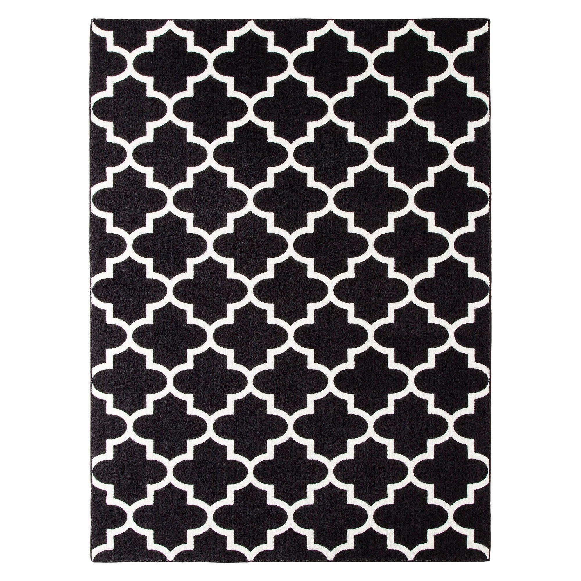 26x4 fretwork design accent rug black threshold