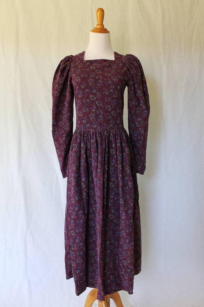 0f84e3efdc2 Vintage LAURA ASHLEY Georgian Style Long Sleeve Floral Corduroy Dress    Sash 8 S  LauraAshley