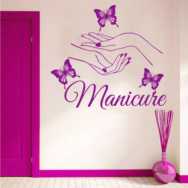 Nail Salon Wall Decal Manicure Pedicure Window Sticker