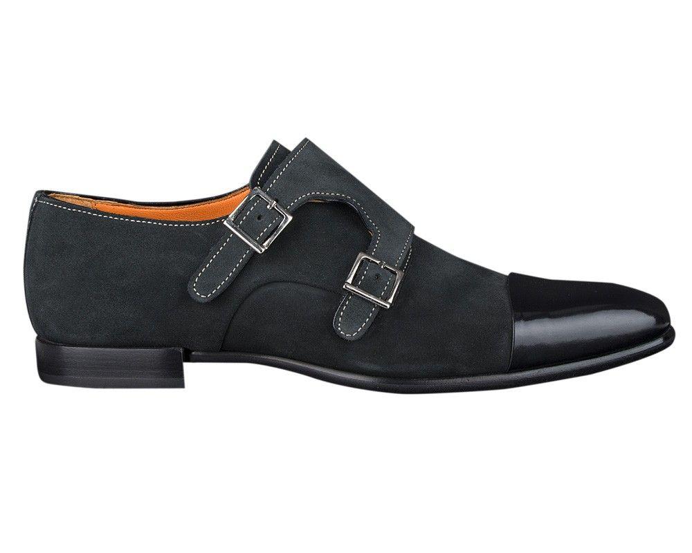 Zwartgrijze schoen met dubbele gesp