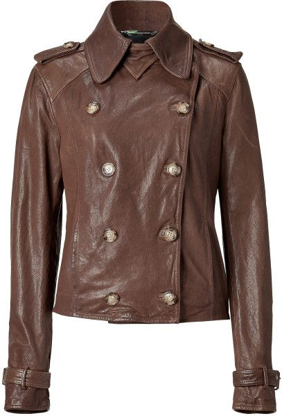 a8e48b7cb Women's Brown Double Breasted Vintage Leather Jacket | fashion ...