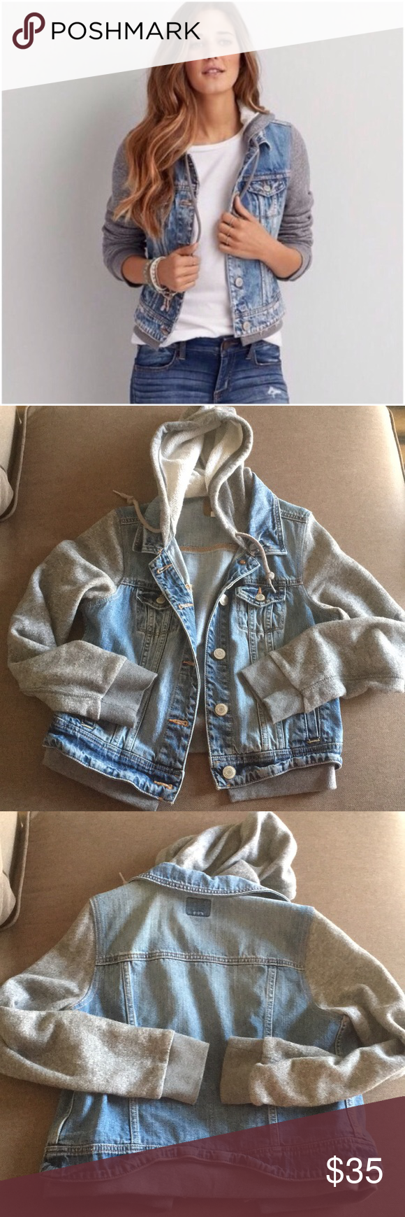 Aeo Jean Jacket Sweatshirt Combo Clothes Design Fashion Cute Jean Jackets [ 1740 x 580 Pixel ]