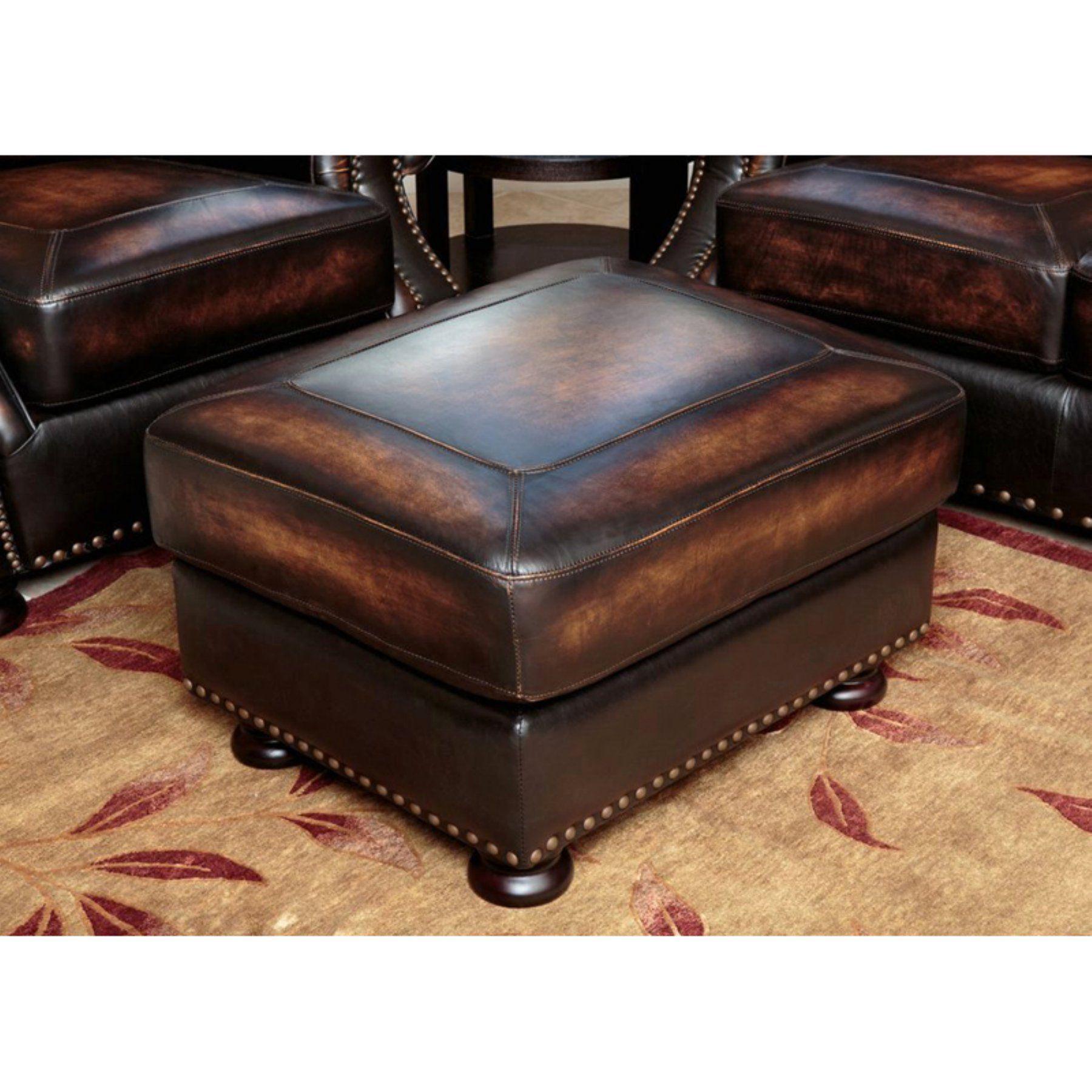 Abbyson Tannington Top Grain Leather Ottoman  Brown  Sk 2308 Brn 4