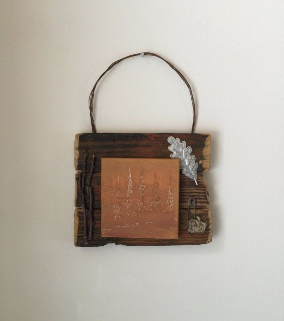 Rustic Mixed Media, Nature Inspired, Primitive Wall Art, Orange Home Decor, Rust, Wedding Gift, Office, Farmhouse, Country, Cabin, Camp