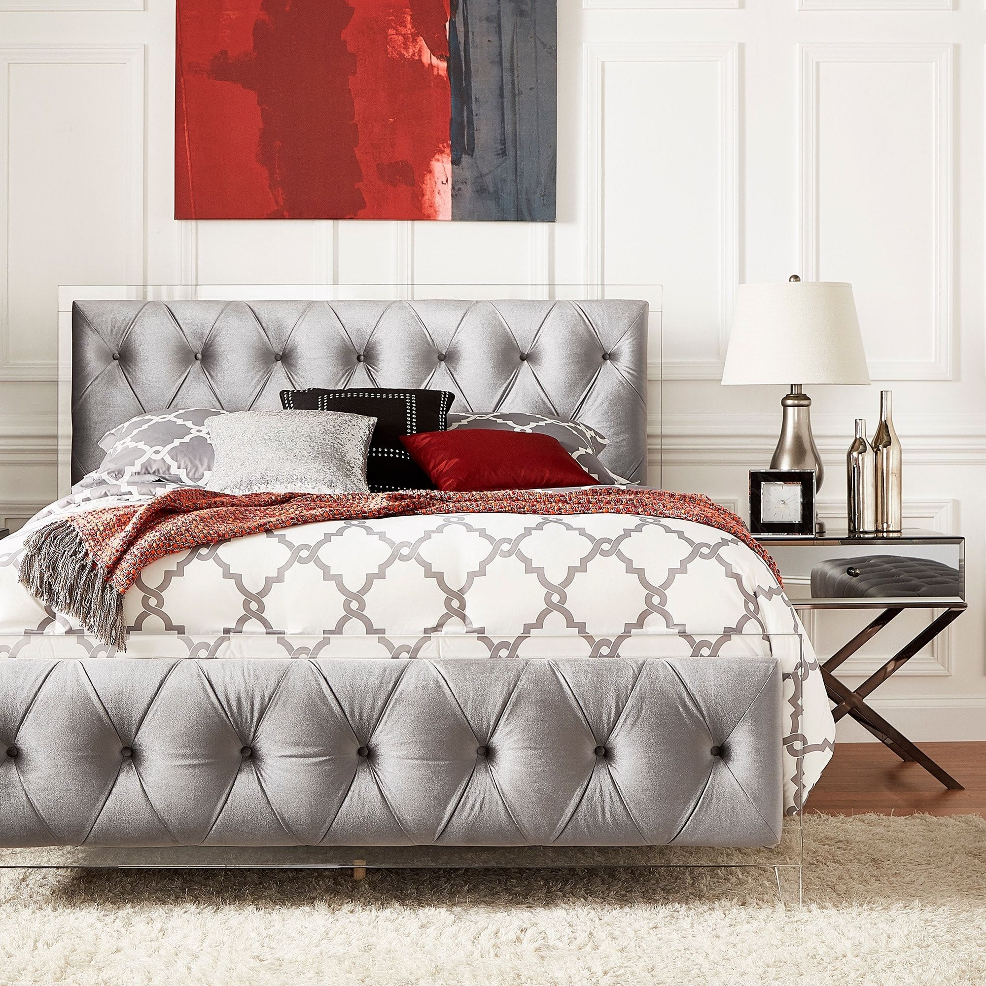 Anya Fullsize Velvet Button Tufted Acrylic Headboard and