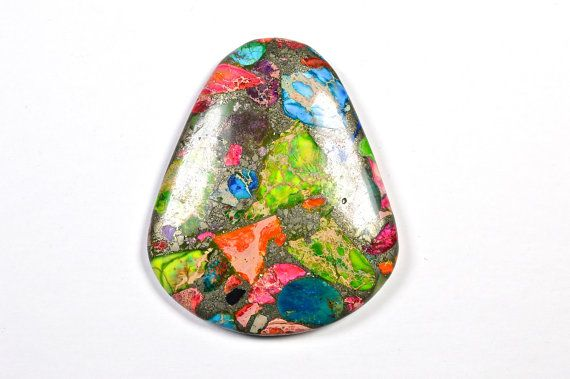 Rainbow Variscite/Pyrite cabochon by Fabbydabbystones on Etsy, $18.00