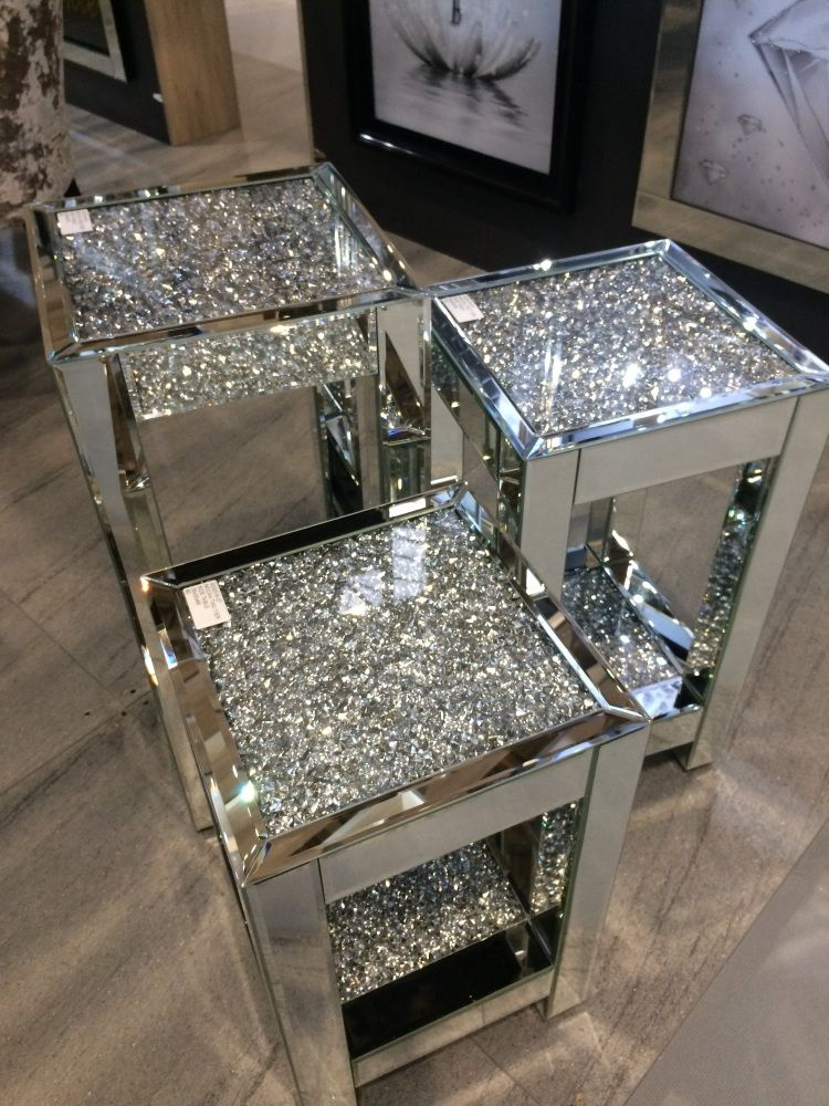 Diamond Crush Sparkle Crystal Mirrored Lamp Table Large