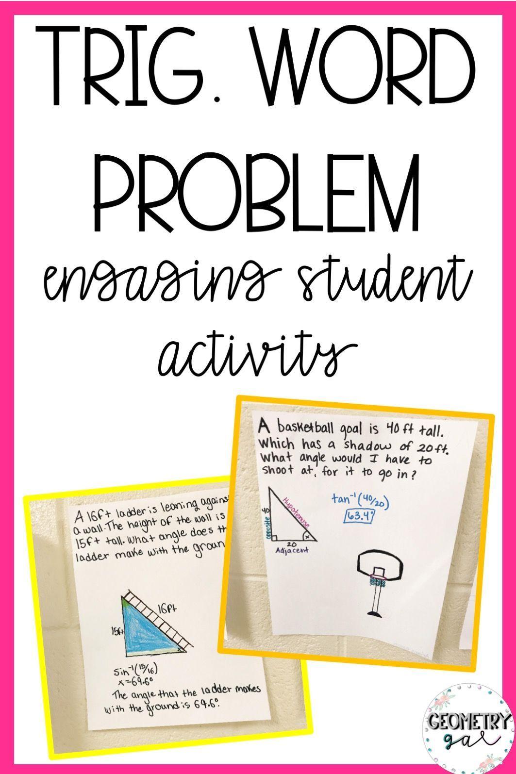 Trigonometry Lesson Word Problem Activity Lindsay Bowden Word Problems Word Problem Worksheets Geometry Lessons