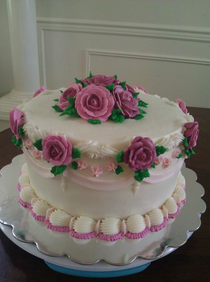 Pretty Pink Royal Roses On Buttercream Torte In 2018 Pinterest
