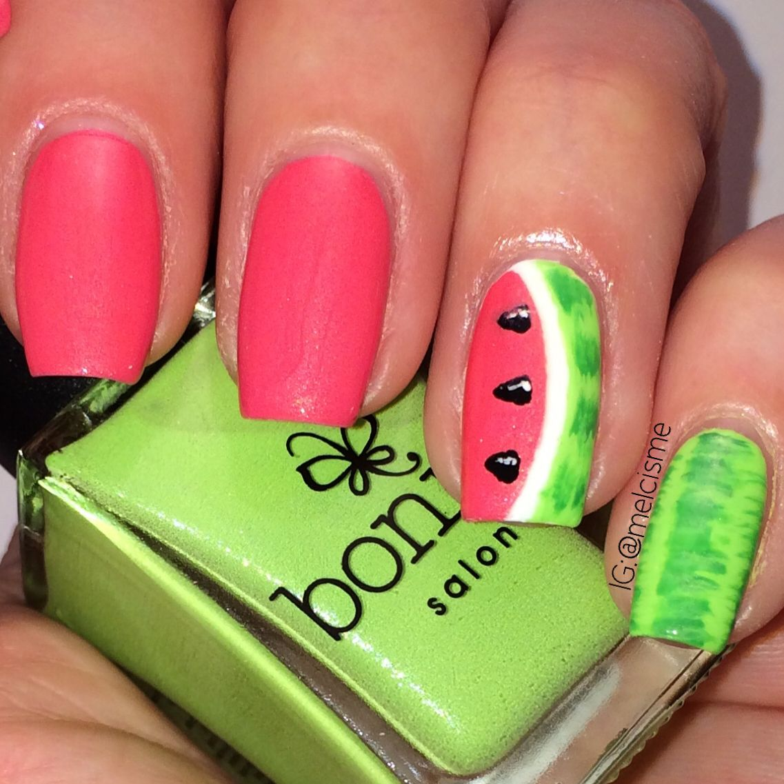 Watermelon nails using Bonita nail polish. Design by @melcime on ...