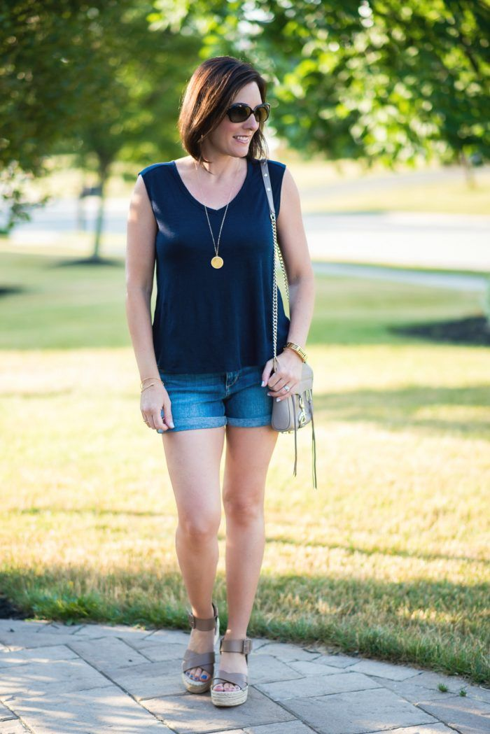 75c1cbaeffe These Sole Society Audrina flatform espadrille sandals with Joe s Jeans  rolled hem denim shorts and LOFT linen sleeveless v-neck is the perfect  summer ...