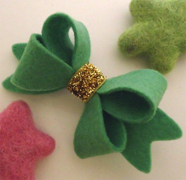 Felt hair bow alligator hair clip, Baby girl, Hair accessories, Felt hair bow, School hair bow, Wool felt, Hair barrettes, Gold, Girls gift