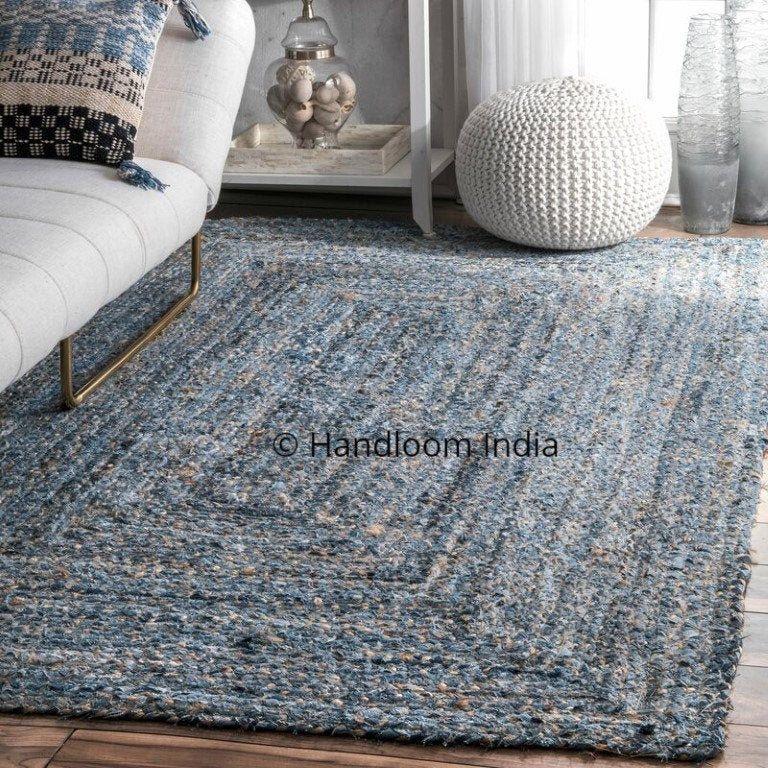 Denim Rug Hand Woven Braided Denim Jute Mix Dhurrie Area Rug Bohemian Braided Area Carpet Shag Rugs 2 X 3 Ft Jute Area Rugs Floor Rugs Living Room Braided Rugs