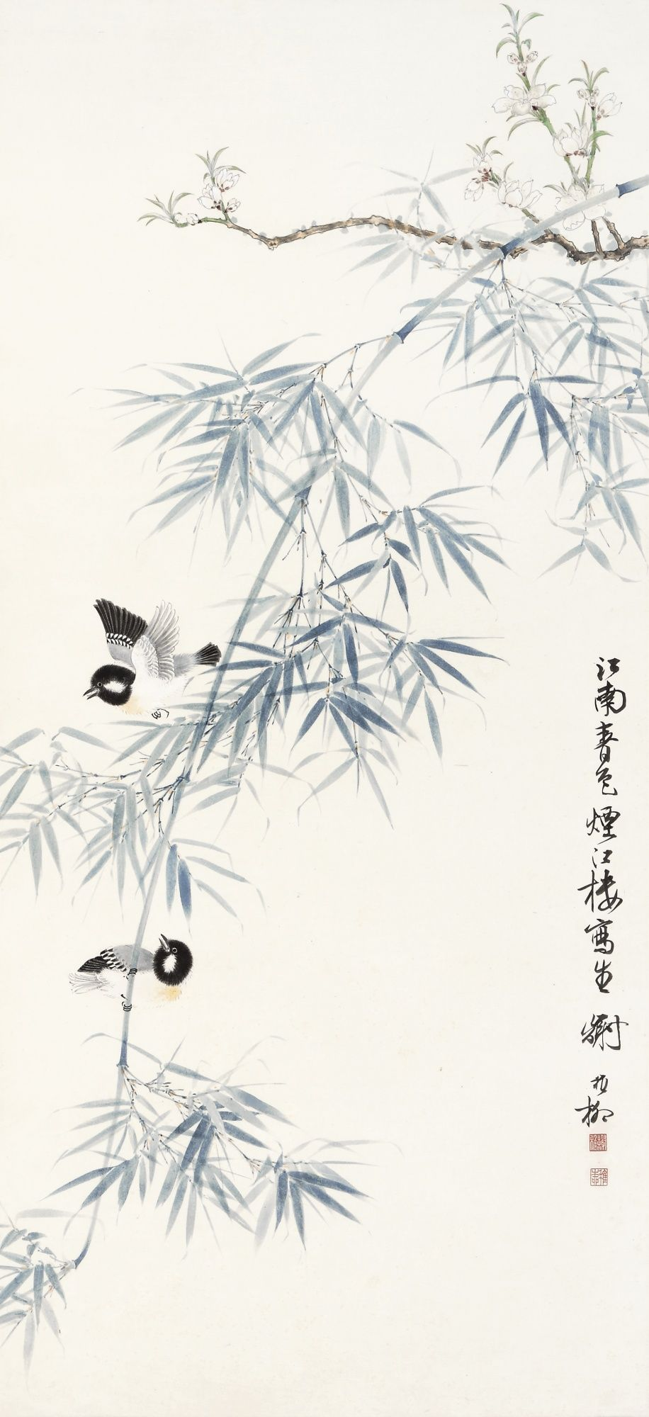 Xie Zhiliu 1910 1997 Birds Perching On The Bamboo Branch Signed