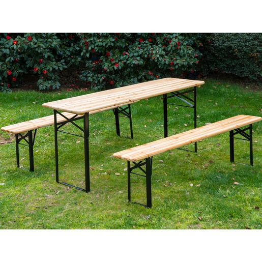 The Outsunny Wooden Folding Picnic Table Set With Benches Is Ideal For Outdoor And Indoor Use Or Whenever You Need An Extra Seating