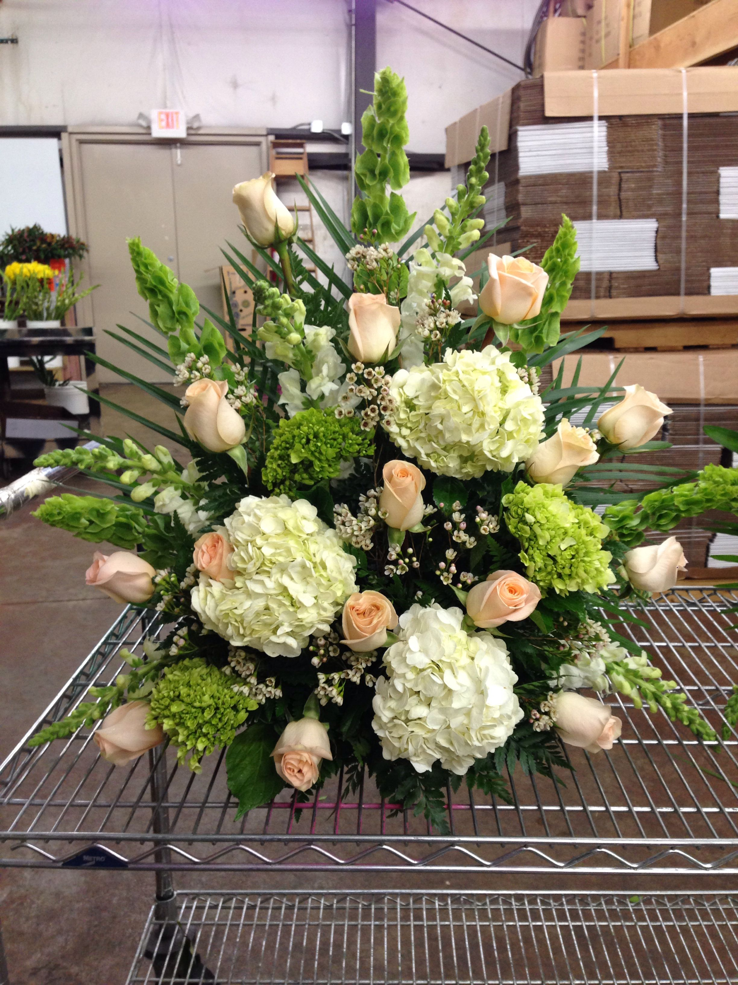 White Green And Peach Hydrangea And Roses Alter Ceremony