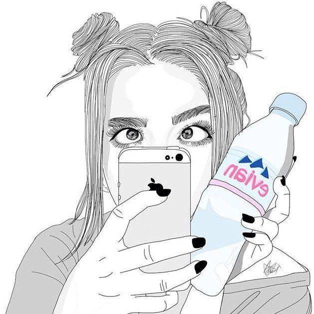 Mirror selfie drawing
