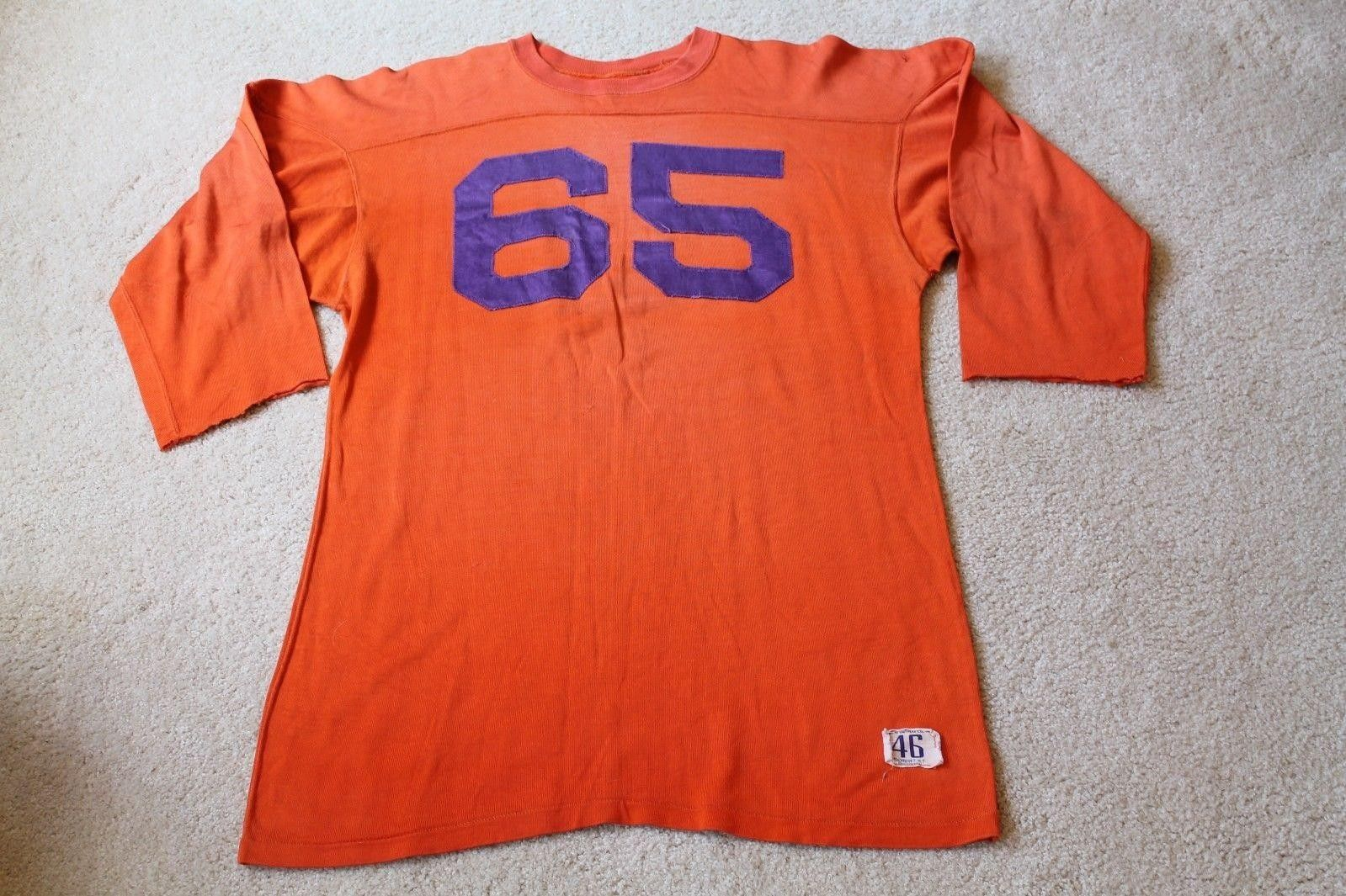 9ca967a67cf Vintage 1940's-50s Game Used Durene Orange Football Jersey  65 Clemson  Tigers