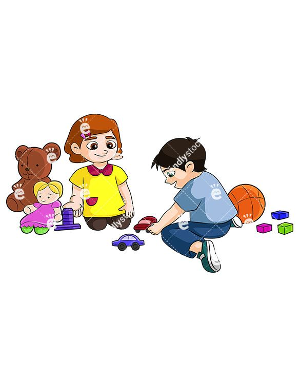 A Little Boy And Girl Sharing Toys And Playing Nicely Together