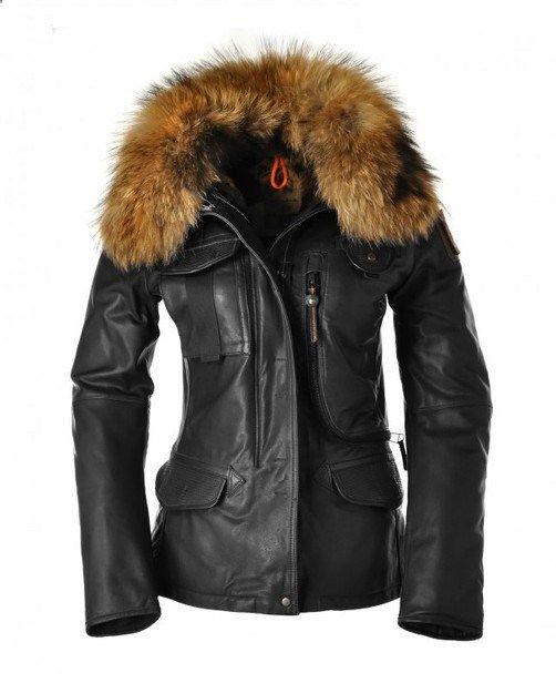 PJS Parajumpers 2013 New Denali Women Leather Jackets Black