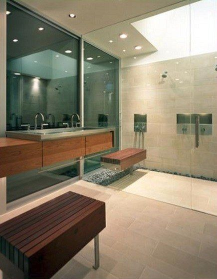 1 3 Modern Master Bathroom With Exterior Gl Wall And Shower Enclosure