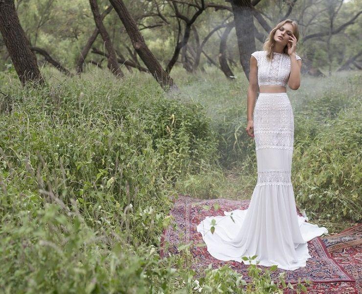 Geometric boho top with a chiffon and beaded lace wedding dress | itakeyou.co.uk #wedding #weddingdresses #weddingdress #weddinggown #limorrosen
