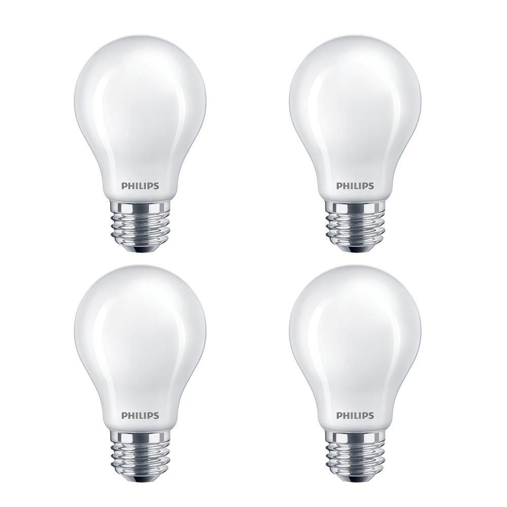 Philips 60 Watt Equivalent A19 Led Light Bulb Daylight Classic Glass Bulb 4 Pack Light Bulb White Light Bulbs Led Candle Lights