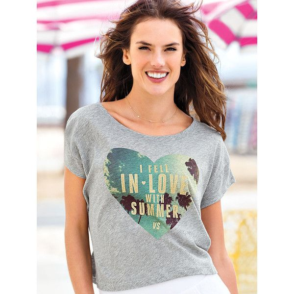 Victoria's Secret Graphic Boxy  TeePlayful graphics make this top pop. Designed with a scoopneck in an on-trend boxy silhouette, this casual tee makes a stylish stand-alone or a great layering piece. Graphic print.