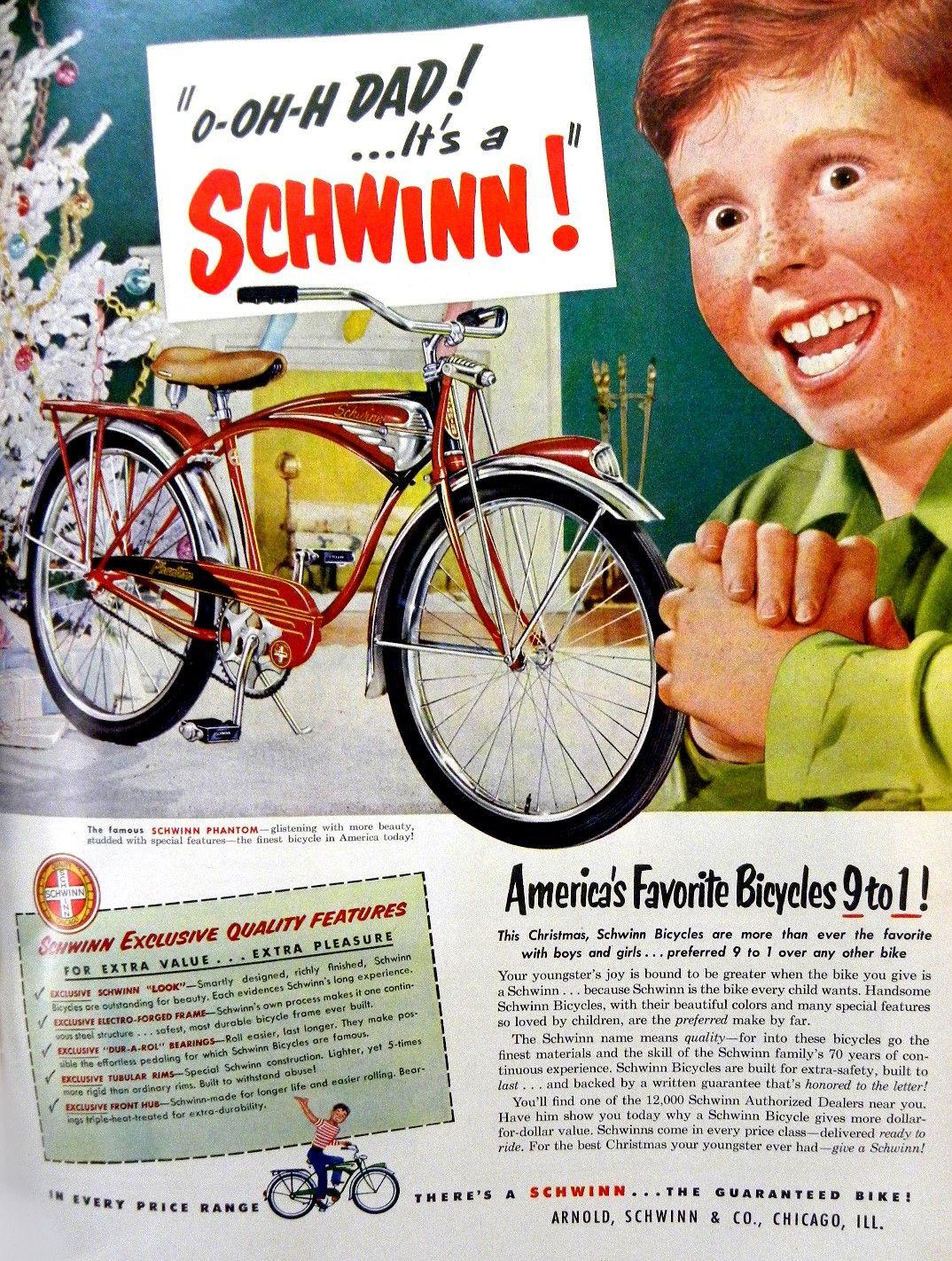 Major freakout for SCHWINN!  Bicycle advertisement. LIFE Magazine, December 3, 1951.