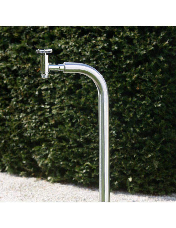 Ideal Wasser Zapfsäule rund, Edelstahl poliert Ø 40mm