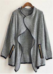 Loose Long Sleeve Turn Down Collar Side Pockets Design Women's Cardigan