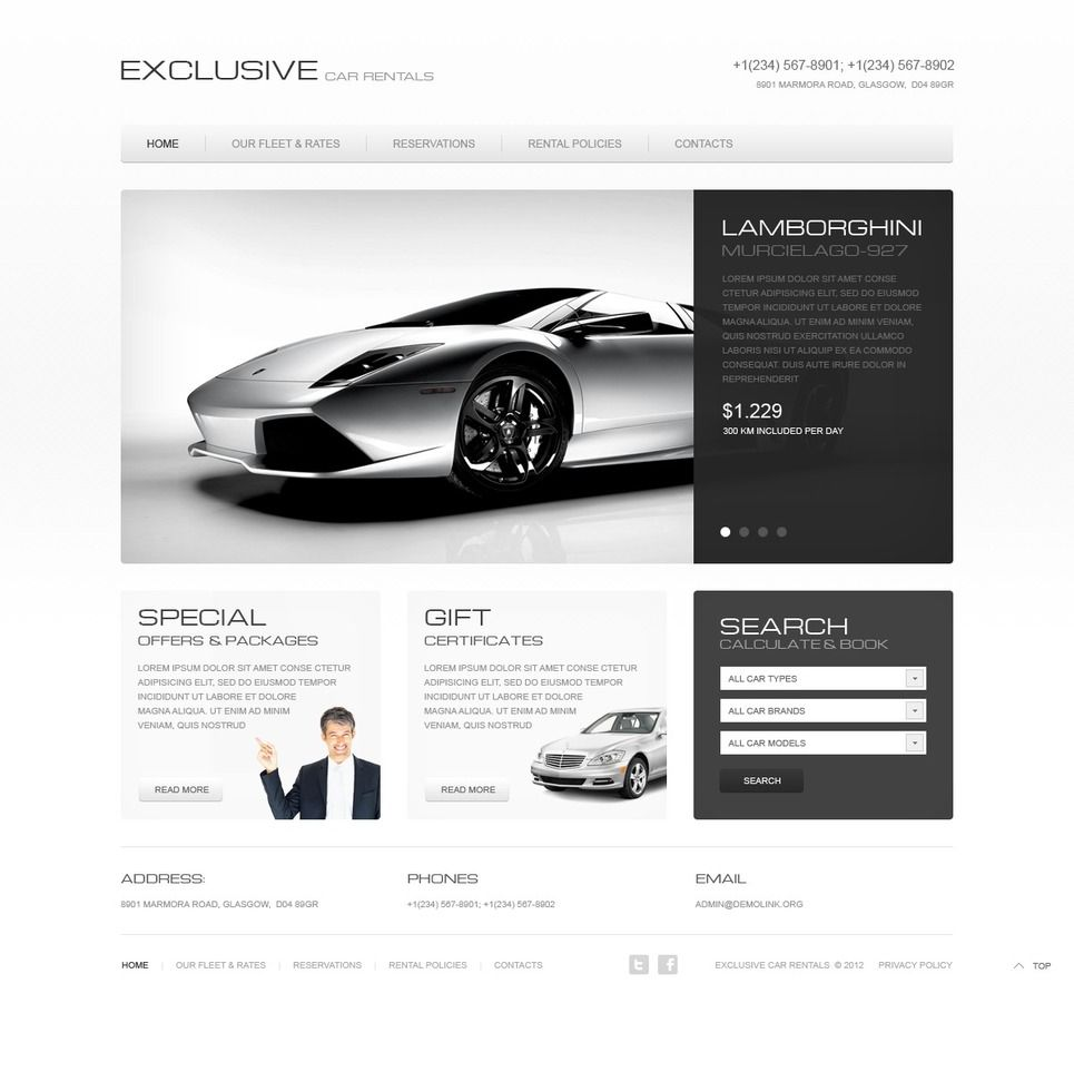 Car Rental Website Template 40140 Website Template Car Rental
