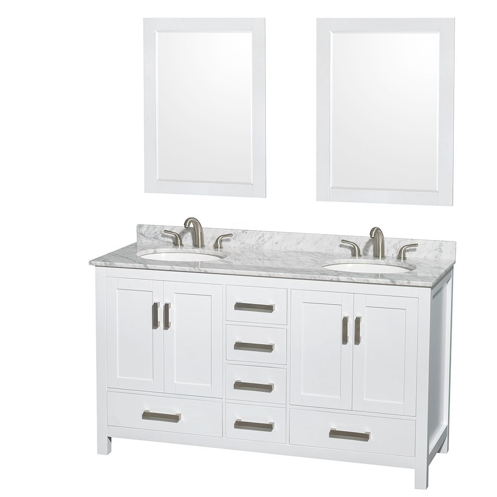 Wyndham Collection Sheffield White 60 Inch Double Vanity Marble