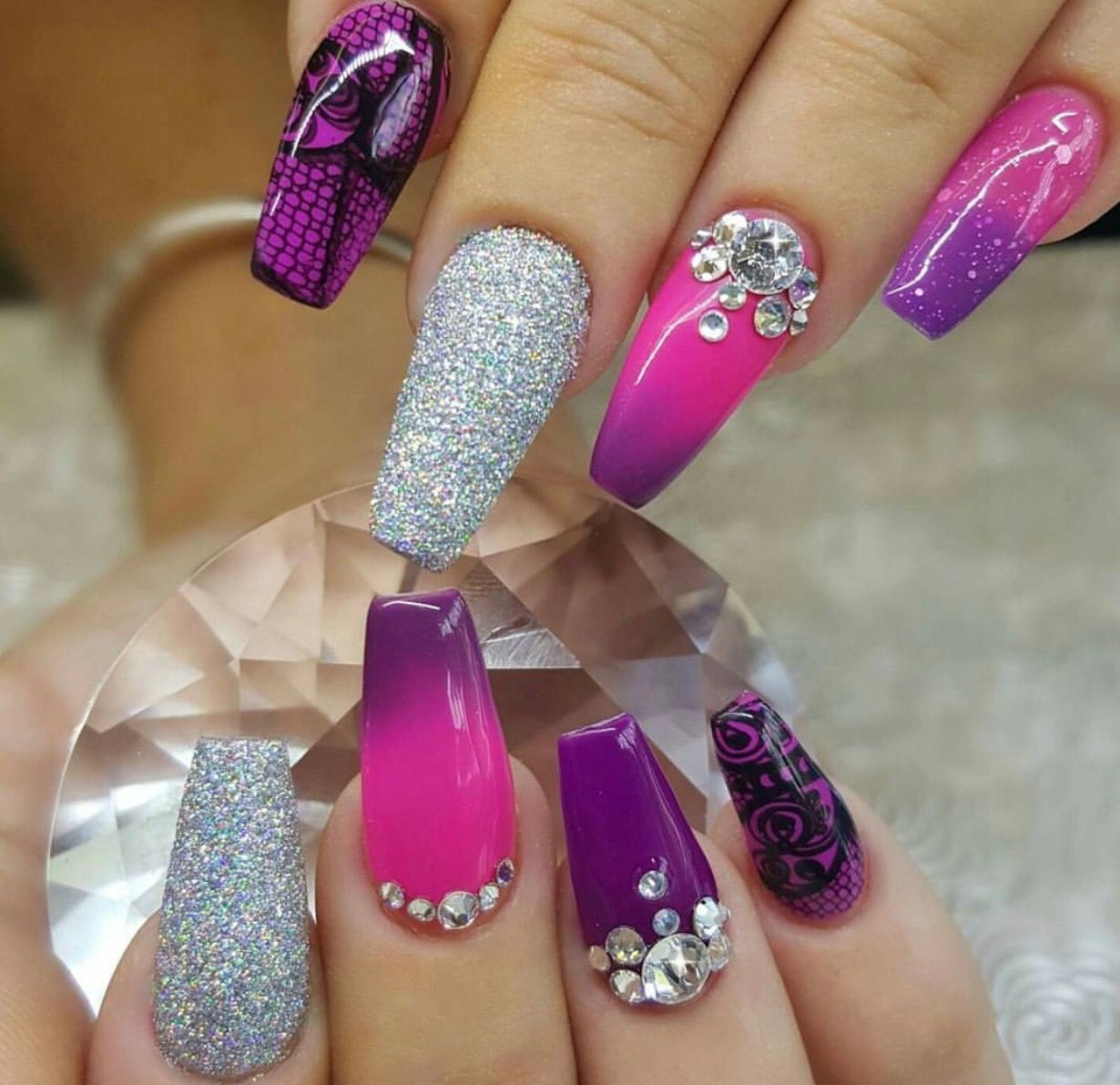 Pin by petra zippa on nails pinterest makeup bling nails and glam nails bling nails funky nails purple nails stiletto nails nice nails slay toe nail designs nails design prinsesfo Image collections