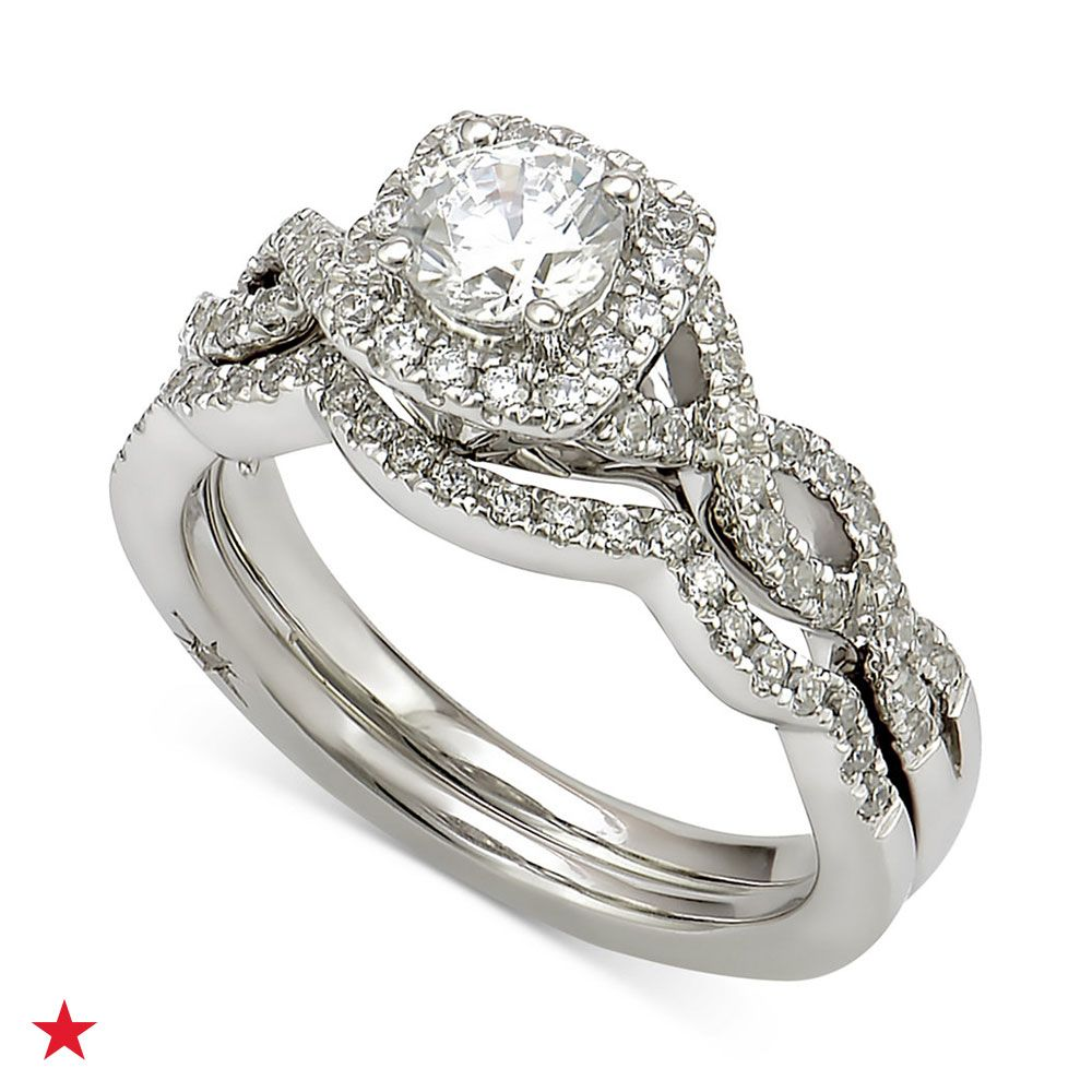 Marchesa Certified Diamond Bridal Set 1 Ct T W In 18k White Gold Created For Macy S Reviews Rings Jewelry Watches Macy S Diamond Bridal Sets Jewelry Rings Engagement Bridesmaid Jewelry Sets