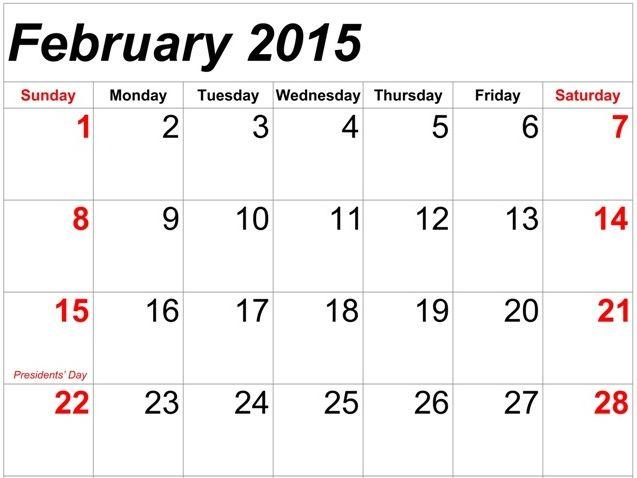 Download February 2015 Calendar Portrait Template  Design Cute