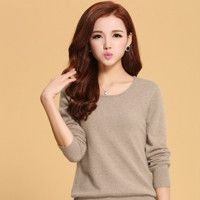 93494b29c5 Women Sweater 100% pure Cashmere Knitted Sweater Winter o-neck Warm Sweaters  for Ladies Pullvoer Hot Sale Goat Cashmere clothes