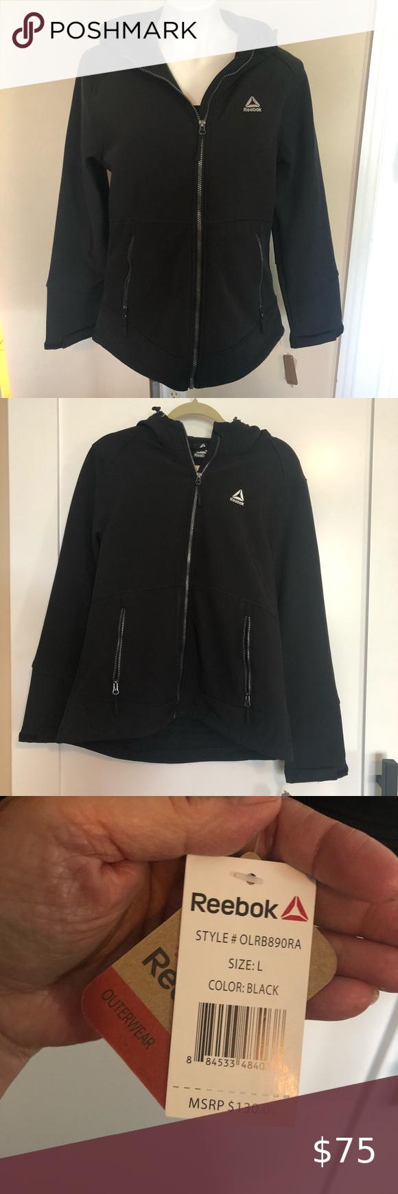 New Reebok Black Hooded Jacket Sz L Black Hooded Jacket Black And White Jacket Hooded Jacket [ 1740 x 580 Pixel ]
