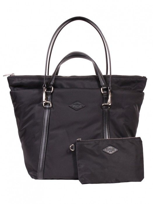MZ Wallace Small Astor Tote in Black Moto Puff Bedford