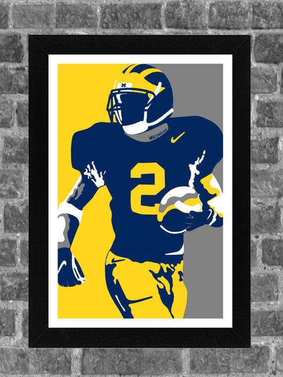 new style 2e053 97229 Michigan Wolverines Charles Woodson Portrait Sports Print ...