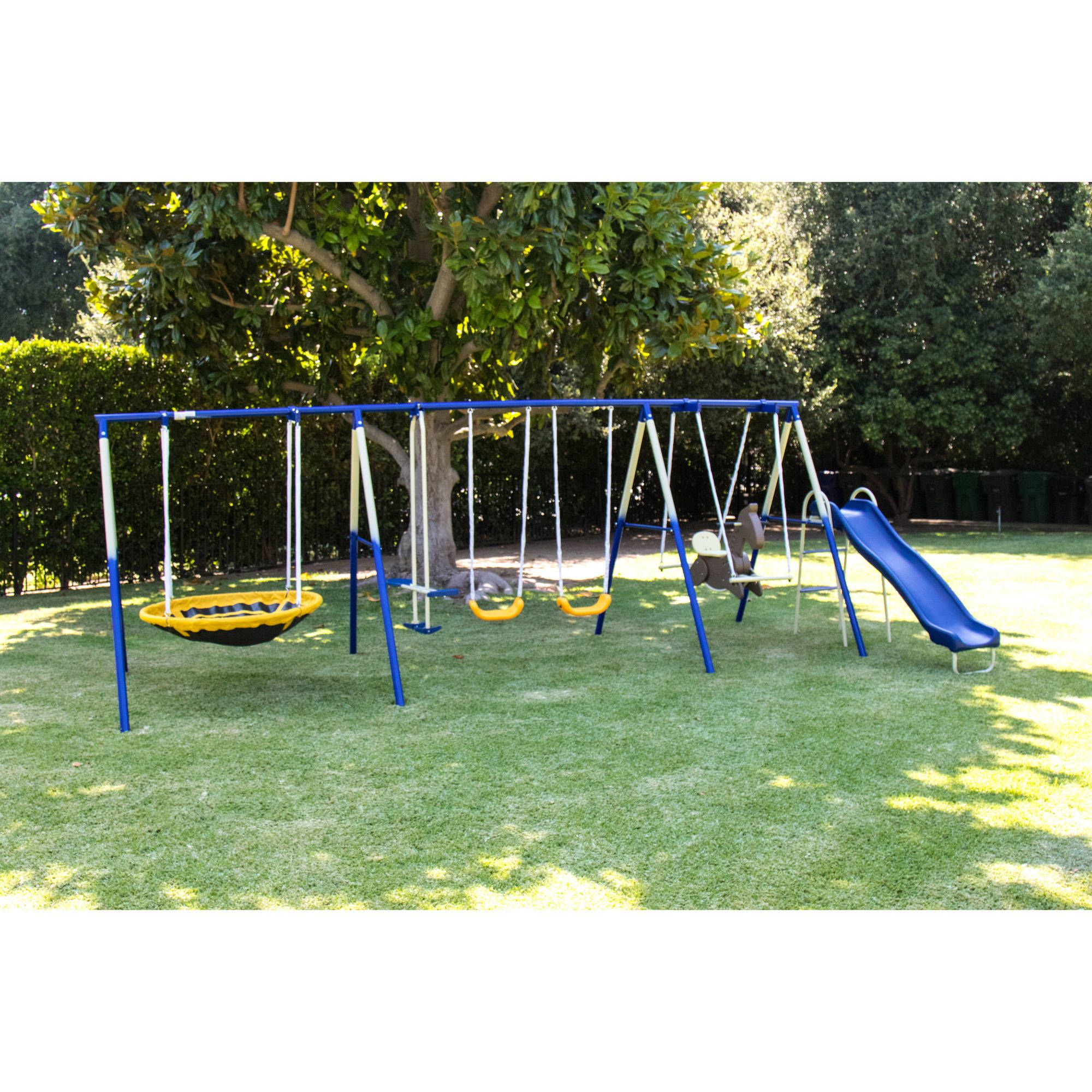 Sportspower Outdoor Super 8 Fun Metal Swing And Slide Set