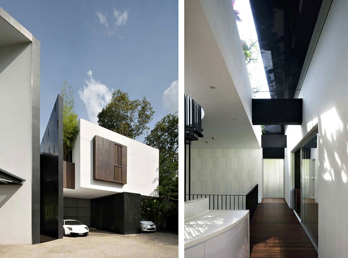 Black and white house by Formwerkz Architects in Caldecott ...